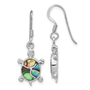 Jewelry - 925 Sterling Silver Abalone Sea Turtle Earrings